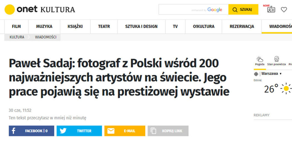 The Onet.pl portal about the success of Paweł Sadaj